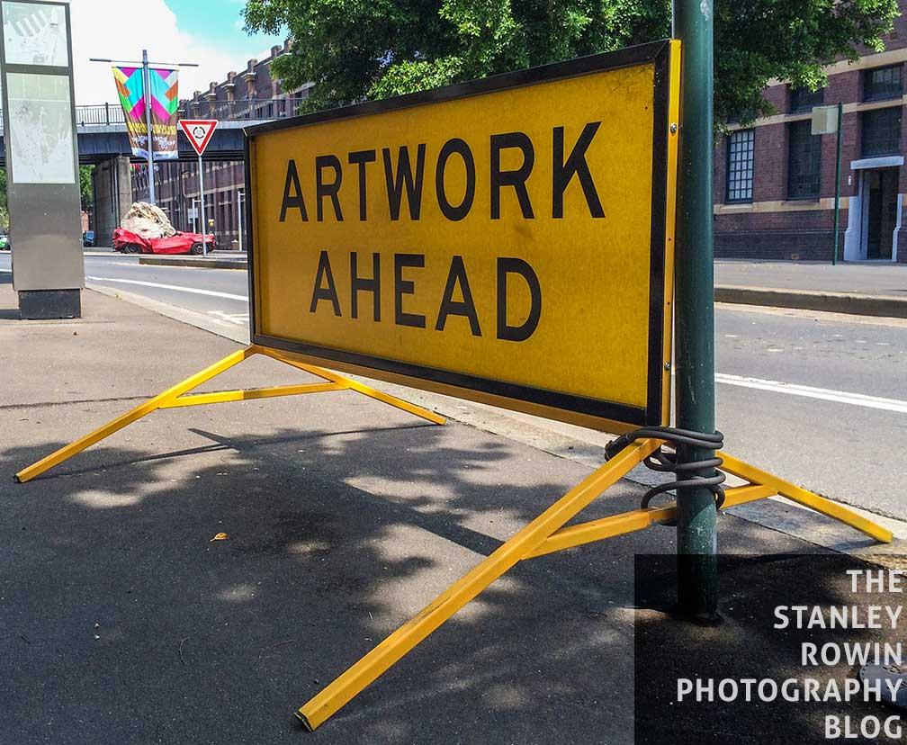 Humorous Road Sign, Artwork Ahead,