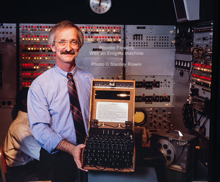 Woodie Flowers holding German Enigma Machine
