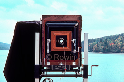 "Polaroid 20 x 24"" Camera, with back open, on a lake in Maine"