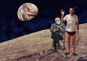 BERNIE AND STAN MEME on the moon