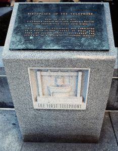 Plaque: Birth place of telephone, 109 Court St., Boston, Mass