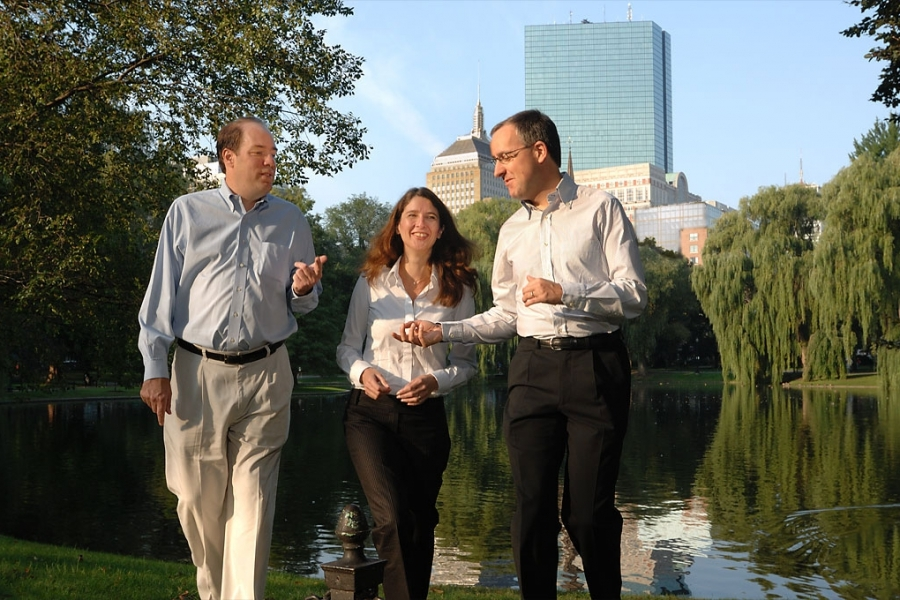 Bankers Walk in the Boston Public Garden for Banking Magazine