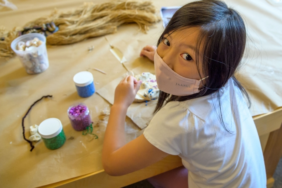 young student in art class