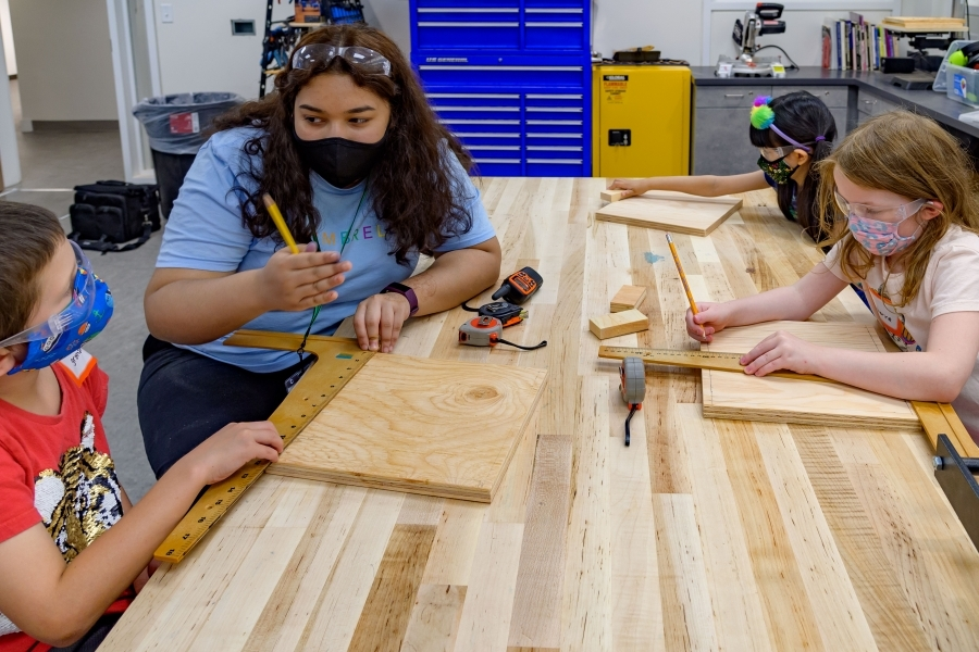 Young students in school Maker Space