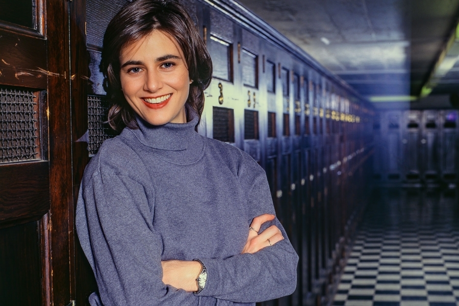 Harvard Medical School student photographed in hallway for Glamour Magazine