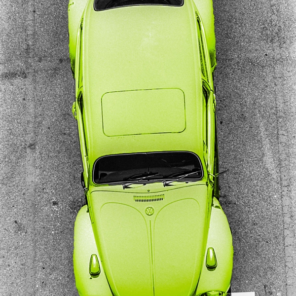 Aerial View of a VW Bug