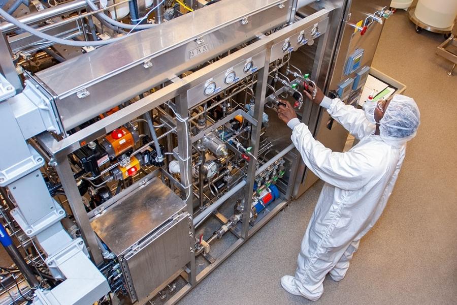 Overhead view of Biogen Biotech Drug Manufacturing